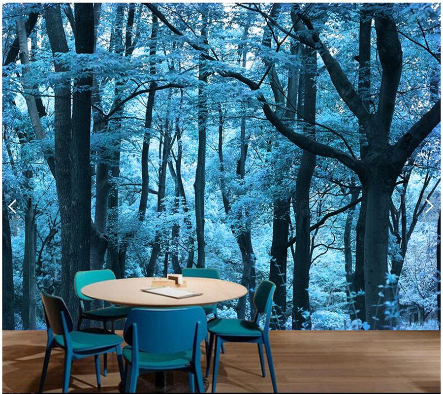 Custom natural landscape wallpaper,blue forest mural for living room sofa office background wall home decoration papel de parede custom green forest trees natural landscape mural for living room bedroom tv backdrop of modern 3d vinyl wallpaper murals