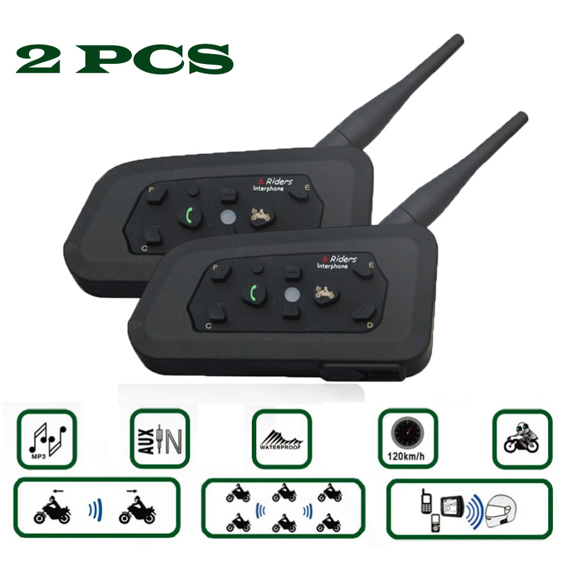 2PCS V6 Helmet Intercom 6 Riders 1200M Motorcycle Bluetooth Intercom Headset Walkie Talkie Helmet BT Interphone