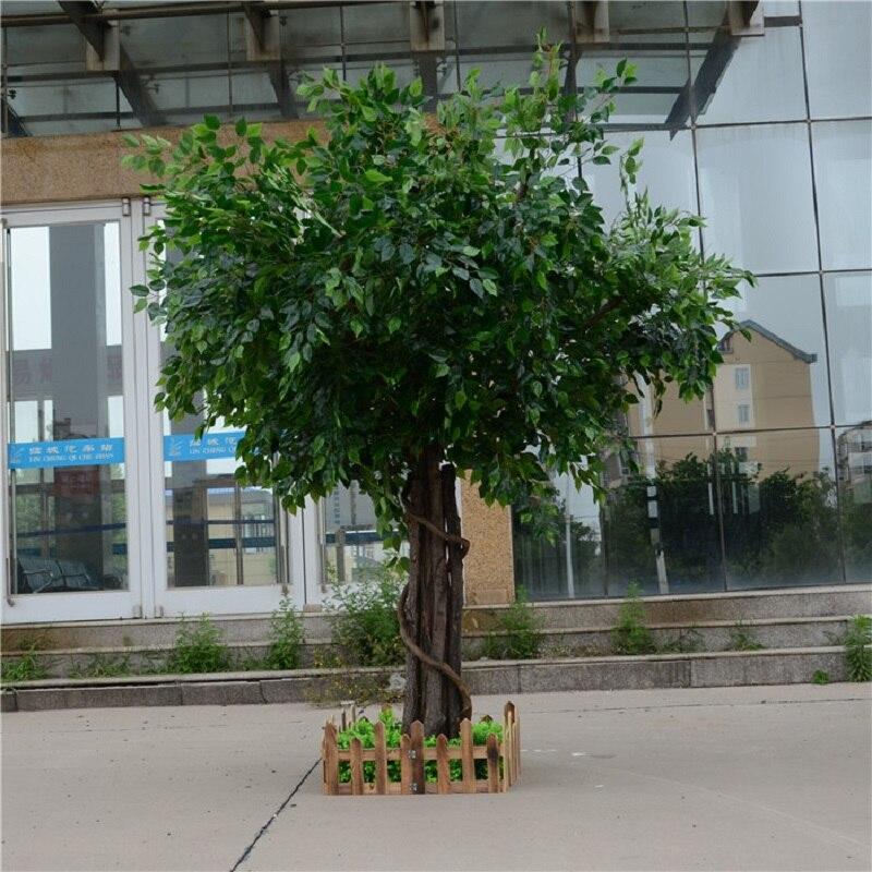 Artificial Ficus microcarpa artificial árbol grande árboles falsos gran planta decoración Hotel vestíbulo composición - 2
