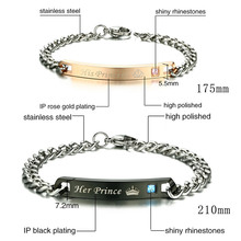 Couple Bracelet Love Giving Gift Stainless Steel Chain ID Jewelry for Women Men