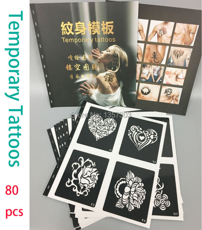 One Book 80 Designs Stencils for Tattoo Henna Tattoo Stencil for  Painting Airbrush Glitter Temporary Body  Art Free Shipping vertical external battery grip for nikon d3100