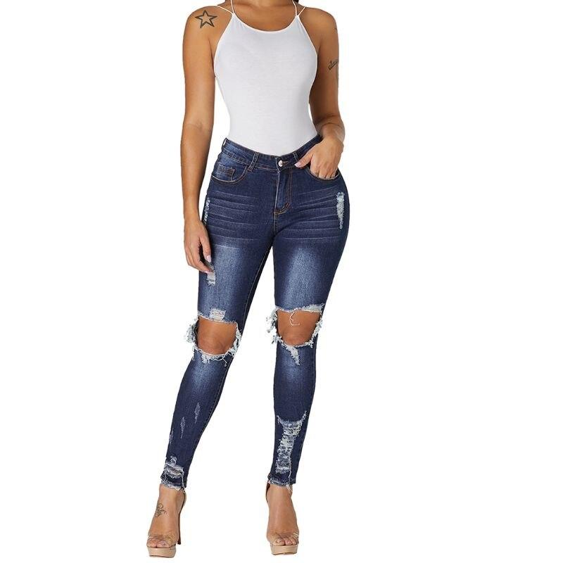 adb69b252 Mujeres Tallas grandes Cintura mediana Jeans ajustados lavados Color sólido  Hueco grande Destruido Agujeros de la rodilla Lápiz largo Pantalón