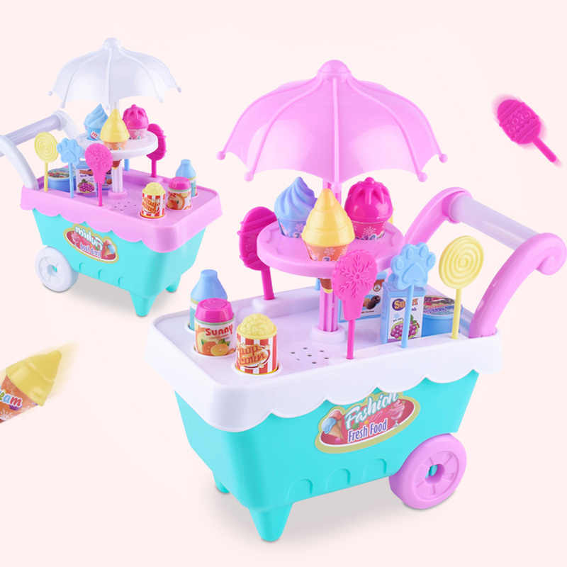 New Children Role Play Toys Mini Candy Cart Detachable Ice Cream Shop Cart Toy