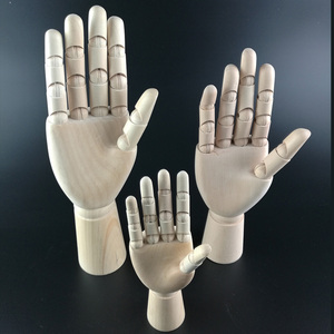 Wooden Artist Articulated Modle Left Hand for Mannequin Decoration Wood Crafts Painting Wood Figure Joint Wooden Cartoon Hands