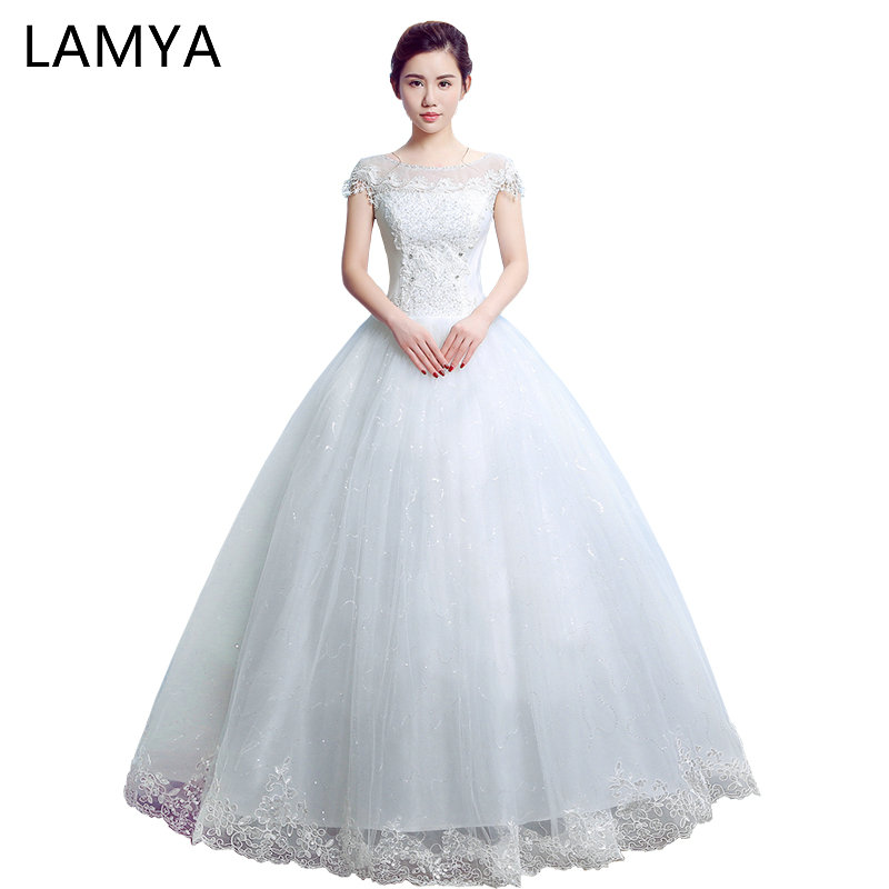 Aliexpress.com   Buy LAMYA Cap Sleeve Wedding Dress 2018 Princess Elegant  Bride Gowns Cheap Ball Gown Wed Dresses Plus Size Vestido De Novia from  Reliable ... 813c643c2b48