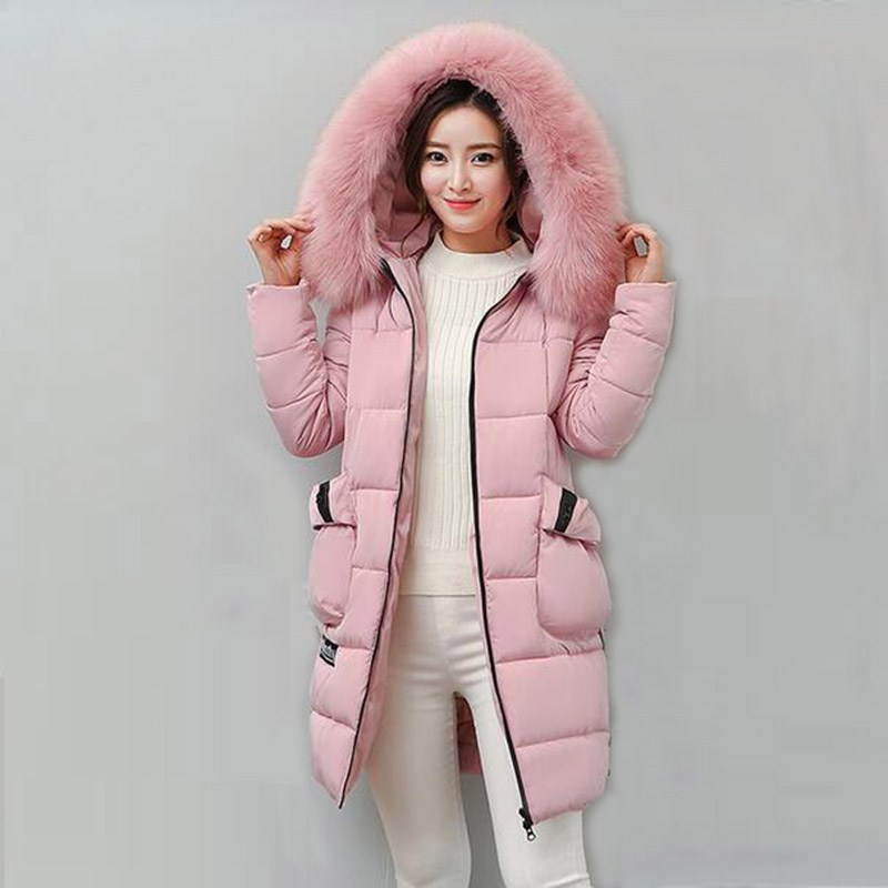 2017 Winter Women Long Hooded Coat Faux Fur Collar Jacket Casual Parkas Padded Outerwear Female Wadded Thick Cotton Coats PW1023 women s thick warm long winter jacket women parkas 2017 faux fur collar hooded cotton padded coat female cotton coats pw1038