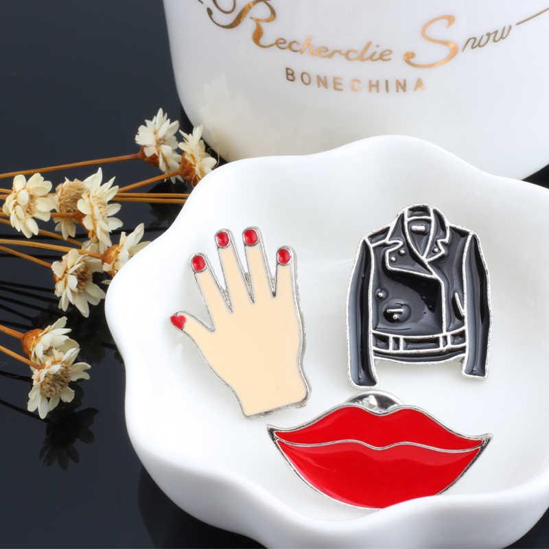Fashion Wanita Bros Pria Jaket Kuku Merah Tangan Lipstik Jantung Gerakan Gadis Pin Lencana Pakaian Aksesoris Wanita Permata