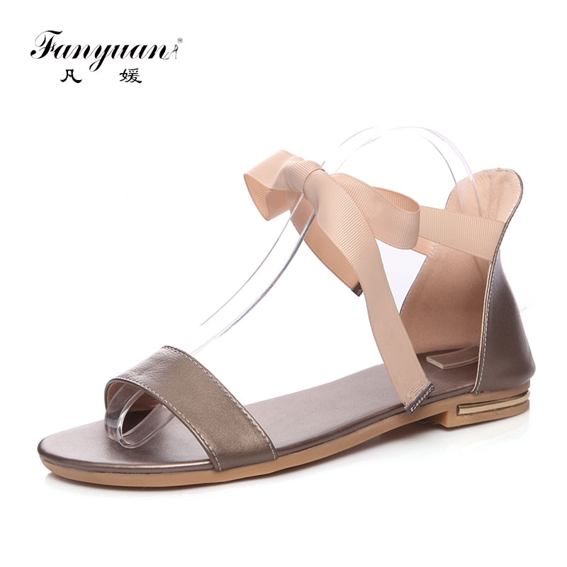 a5d5a6d59cd Fanyuan Genuine Leather Flat Sandals Women Ribbon Ankle Strappy Sandals  Comfortable Lace Up Summer Beach Shoes sandalias Black