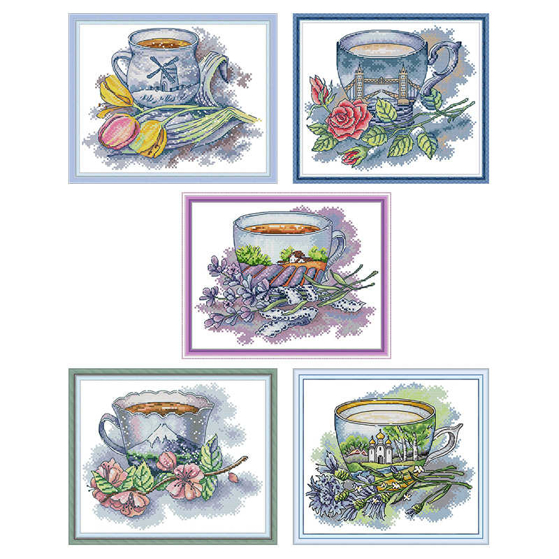 Teacup Series From Different Countries, Counted Print On Canvas DMC 14CT 11CT Cross Stitch kits, Embroidery Needlework Crafts