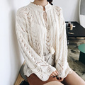 [XITAO] New autumn Korea wind casual style hollow out pullovers loose form full flare sleeve solid color knitted sweater LTB-071
