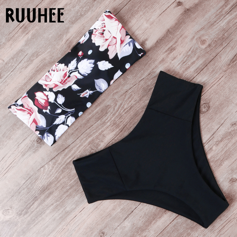 RUUHEE Bandage Bikini Swimwear Women Swimsuit High Waist Bikini Set 2019 Bathing Suit Push Up Maillot De Bain Femme Beachwear(China)