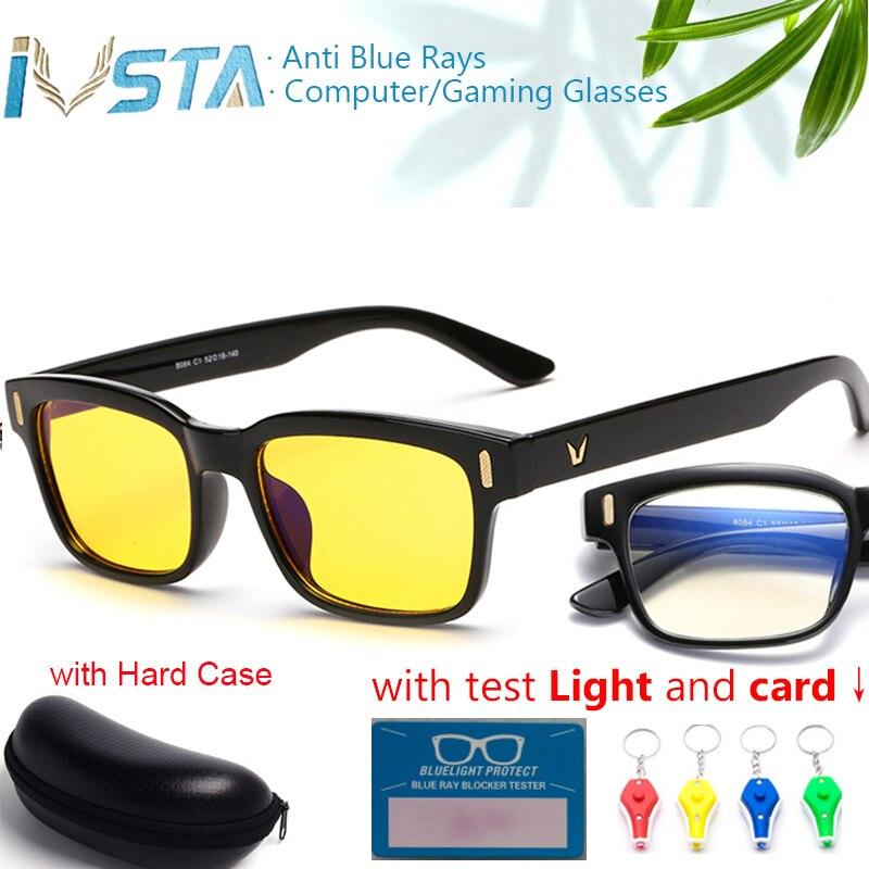 2fb54cdf2 IVSTA مع حالة اختبار بطاقة ضوء الألعاب نظارات مكافحة الأزرق أشعة الكمبيوتر  نظارات الرجال ليلة الرؤية