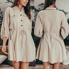 Women Cropped Sleeves Cotton Linen Dress Lapel Waist Wrapped Autumn Dress  -OPK кольцо opk crytal 193