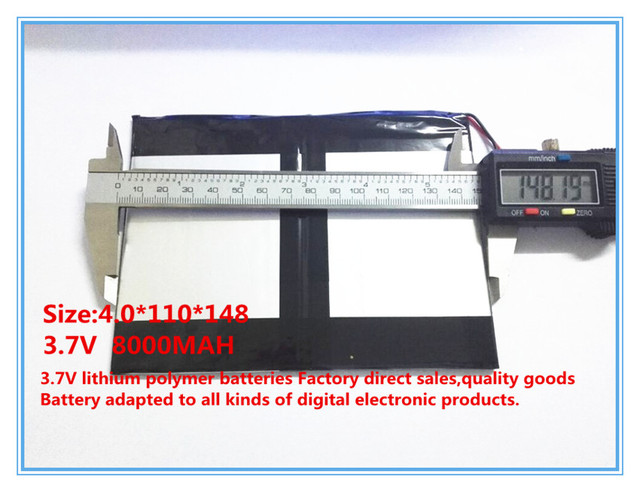 3.7 V, 8000 mAH, [40110148] PLIB (bateria de iões de lítio polímero bateria/Li-ion) para tablet pc, mid, power bank, para Sanei N10, Ampe A10