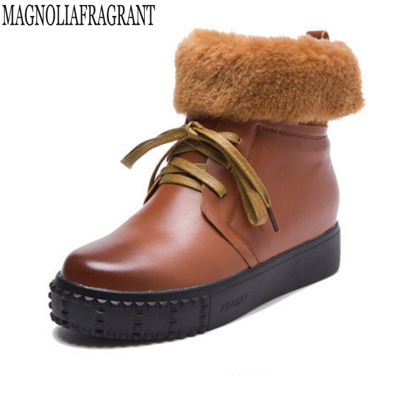 Autumn new Genuine Leather Women's boots Plush snow boots Keep warm Comfortable platform women's winter boots botas mujer k467 rabbit hair lady autumn winter new weaving small pineapple fur hat in winter to keep warm very nice and warm comfortable