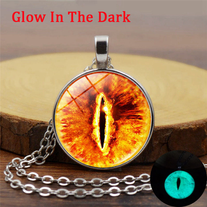 XUSHUI XJ glow in the dark Retro Jewelry Evil Eye Luminous Neckalce Women Glass Dome Cabochon Pendant Silver Chain Neckalce Diy
