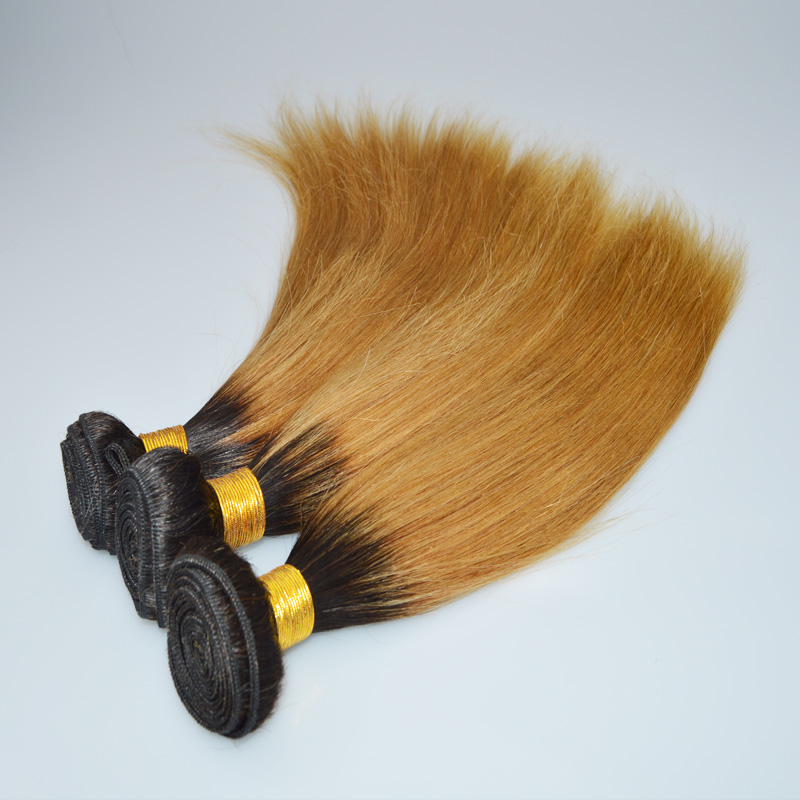 1b 27 Silk Straight Ombre Brazilian Hair Dark Roots Blonde