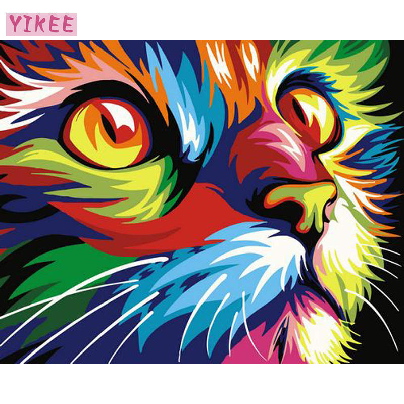 Painting By Number 40x50cm,paint Number Kits,abstract Colored Cat,paint By Numbers Set