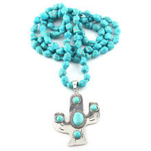 MOODPC Fashion Jewelry Blue Irregular Stone Knotted Pave Crystal Horn Pendant Necklace Wome Yoga Necklace(China)