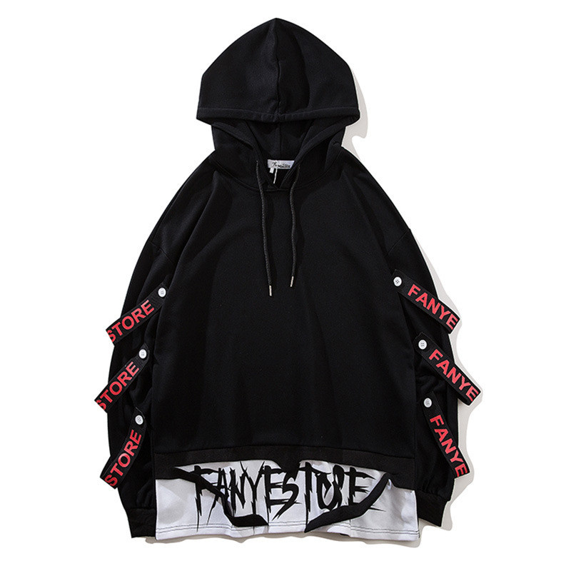 Unisex Harajuku Hoodies Sweatshirts Men Side Ribbons Ripped Hem Fashion Pullover Hoodie Streetwear Sweatshirt Gothic Clothes