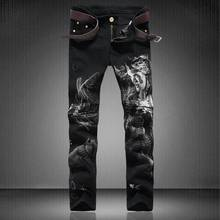 New Designer 3D Sexy Beauty Face Printed Jeans Men Original Brand Casual Clothing High Quality Mens Denim Overall Skinny Jeans