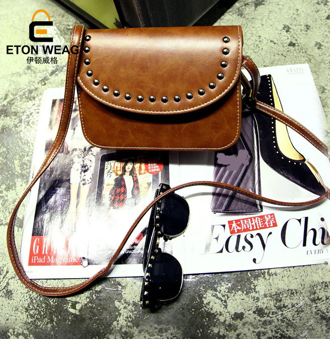 ETONWEAG Brands PU Leather Crossbody Bags For Women Messenger Bags Brown Rivet Vintage Shoulder Bag Preppy Style Woman Bag 2017 fashionable retro pu leather one shoulder messenger bag for women brown 120cm strap