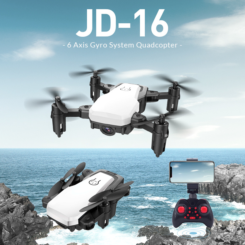 JDRC JD-16 JD16Foldable Drone 2MP/0.3MP HD Camera WiFi FPV Gesture Photo Recording One Key Return RC Quadcopter RTF RC Models jdrc jd20 jd 20 jd 20 new version rc drone quadrocopter spare parts engines motor blades main gear propeller guard