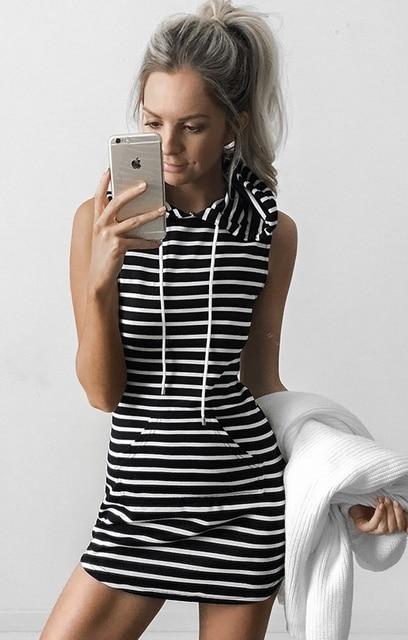 С капюшоном Толстовка Платье 2016 Полосатый Черно-Белый Повседневная Одежда Битник Стиль Короткое Платье Удобные Платья