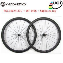 Carbon bicycle wheels 38mm 23mm aero U shape clincher rims with basalt braking surface with DT hubs and Sapim aero spokes
