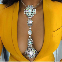 Fashion Women Necklace Body Jewelry Luxury Crystal Rhinestone Flower Belly Body Gold Chains Summer Beach Jewelry