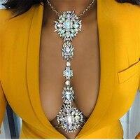 Fashion Women Necklace Body Jewelry Luxury Crystal Rhinestone Flower Belly Body Gold Chains Summer Beach Jewelry