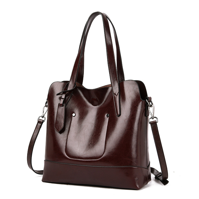 New Oil Wax Leather Women Bag Tote Large Female Composite Bag Shoulder Fashion Luxury Designer Crossbody Bags for Women in Top Handle Bags from Luggage Bags