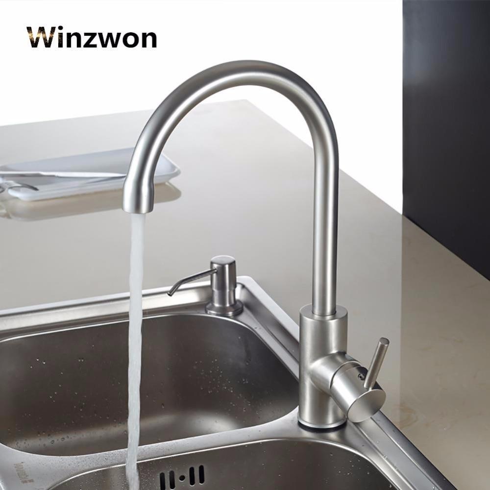 Comprar Agua caliente y fría grifo clásico de la cocina espacio aluminio proceso cepillado giratorio lavabo grifo rotación de 360 grados de Grifos de la cocina fiable proveedores en Shop2786143 Store