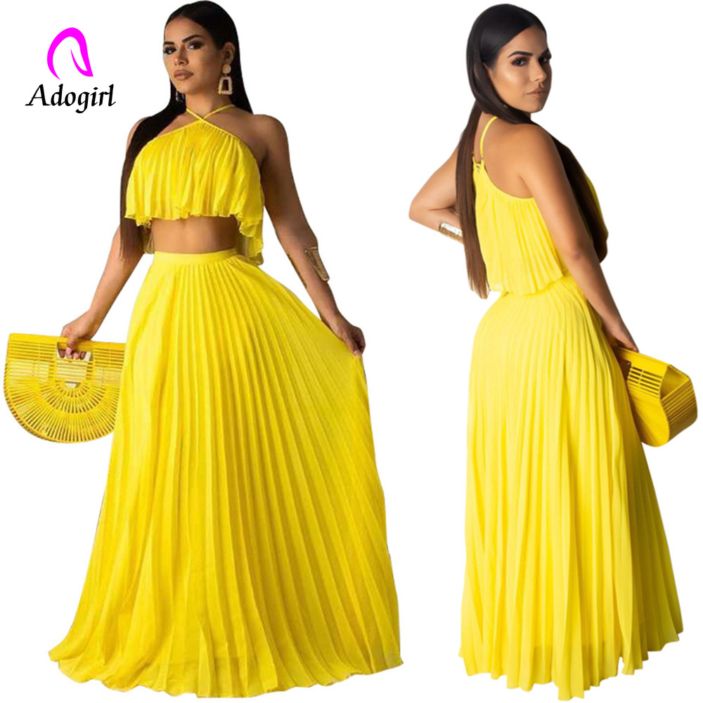 Neon 2 Piece Matching Sets Yellow Chiffon Women Festival Clothing Off Shoulder Crop Top+ Pleated Long Skirt Summer Beach Outfits