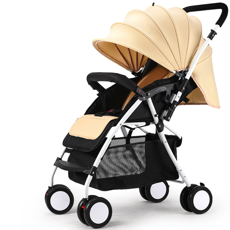ФОТО high quality baby stroller portable light weight baby car shockproof can sit lying folding strollers prams for newborns c01