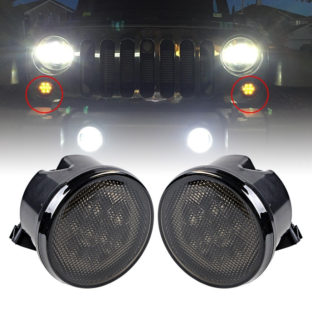 2X Amber Front LED Turn Signal Light Assembly For 2007~2016 Jeep Wrangler JK Turn Lamp Indicator Smoke Lens 1pair led side maker lights for jeeep wrangler amber front fender flares parking turn lamp bulb indicator lens