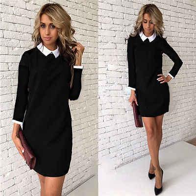 Черное Платье С Воротником Рубашки