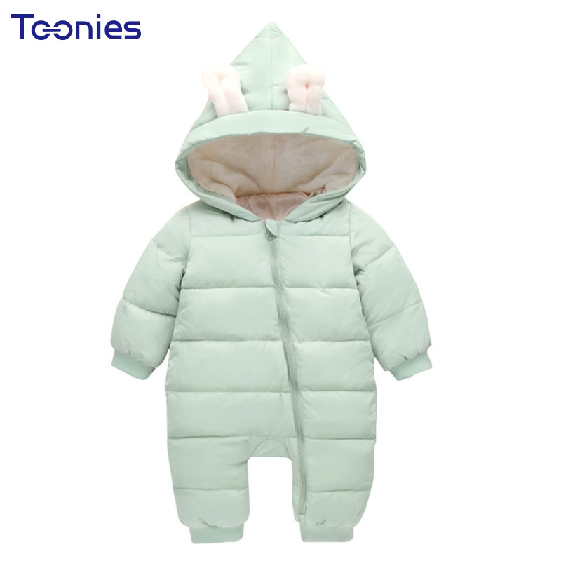 Thick Down Cotton Lining Baby Girls Boys Jumpsuits for Newborns Clothes Rabbit Ear Baby Onesie Romper Zipper Windbreak Rompers down the rabbit hole