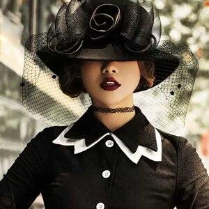 Image 5 - 2019 エレガントな女性のウールワイドつば帽子クローシュボウラーの fedora フェルト秋冬教会帽子帽子ファムキャップワイン赤黒