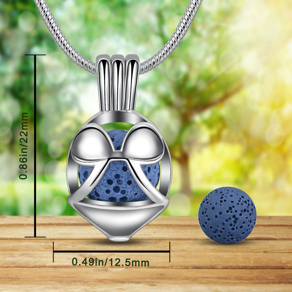 Eudora 8mm Mickey Mouses Locket Lava Stone Pendant Aroma Diffuser Necklace For Essential Oil Perfume Cage Fine Jewelry K345N8 in Pendants from Jewelry Accessories