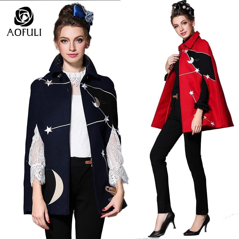 Kadın Giyim'ten Yün ve Karışımları'de S 5XL Kadınlar Yıldız Nakış Pelerin Yün Ceket Moda Sonbahar Kış Kalın Yün Palto Turn Down Yaka Yarık uzun Tops 1708'da  Grup 1