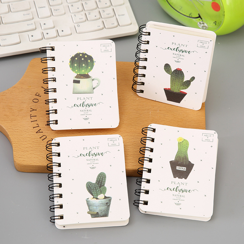 Newest Cute Mini Cactus Daily Office Supplies Daily Weekly Planner Spiral Notebooks Notepads Memo Pad Paper School Stationery