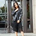 Fashion Women Thin Loose Bf Cool Black Biker Jacket Motorcycle Clothing Female Korean Style Pu <font><b>Leather</b></font> Outerwear Lady Top Coat