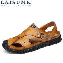 цена на LAISUMK Genuine Leather Men Sandals Summer Cow Leather New For Beach Male Shoes Mens Gladiator Sandal Leather Sandals