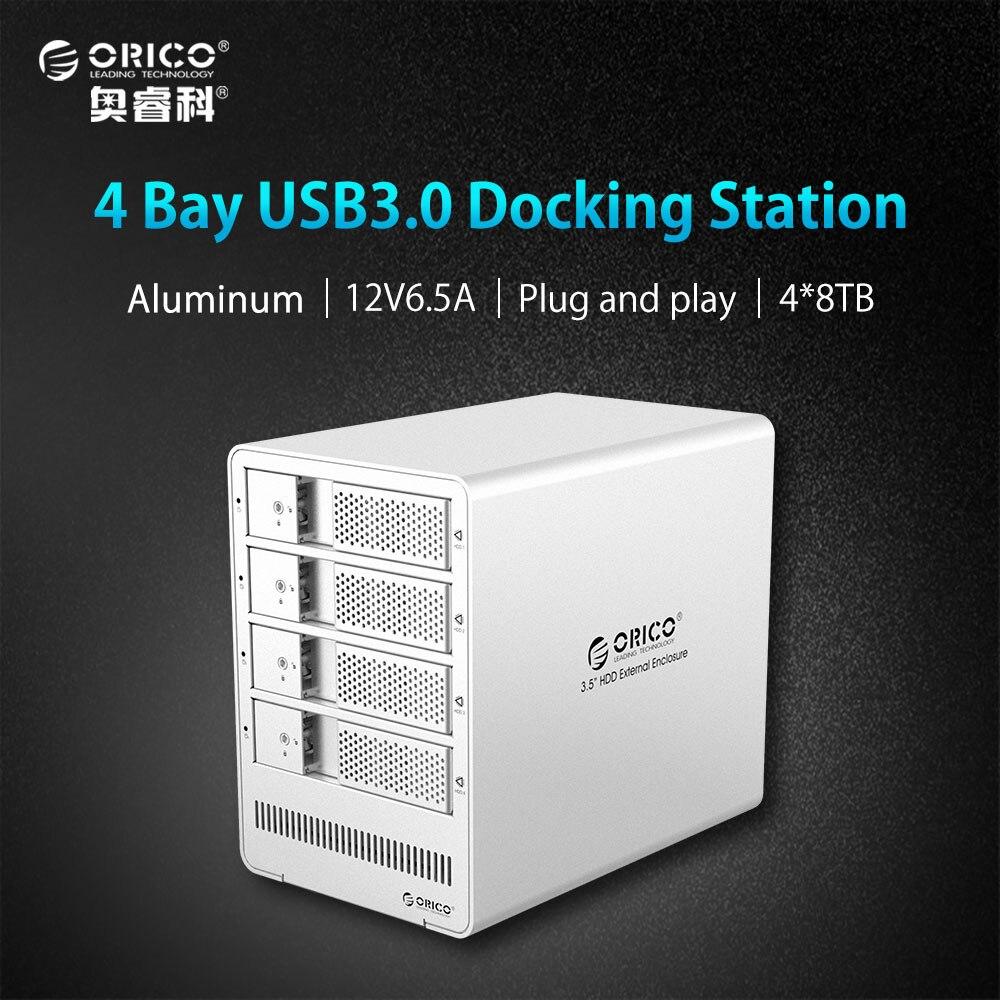 ORICO 4 Bay da 3.5 Pollice Hdd Strumento gratuito USB 3.0 a SATA Supporto 4x8 TB 4-bay Docking Station HDD Cassa per il Computer Portatile PC