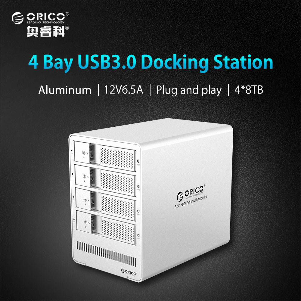 все цены на ORICO 4 Bay 3.5 Inch HDD Enclosure Tool free USB 3.0 to SATA Support 4 x 8TB 4-bay HDD Docking Station Case for Laptop PC онлайн