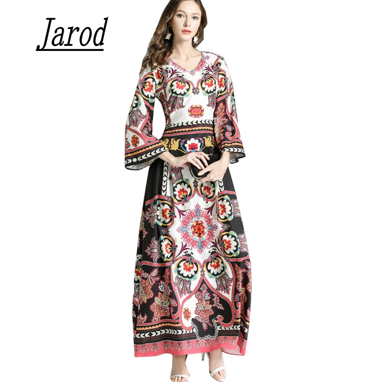 High Quality 2018 Fashion Designer Runway Maxi Dress flare Sleeve Womens Floral Print Vintage Long Dress