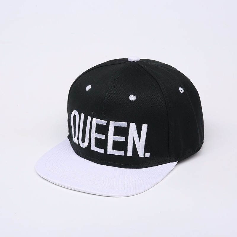 "Embroidered ""King and Queen"" Snapback Cap Set - Black Queen Cap with White Embroidery, White Brim, White Eyelets and White Button Top"