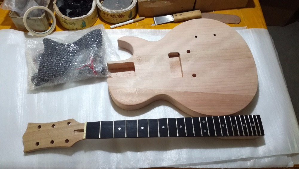 diy single cutway flat p90 stop tail bridge electric l guitar kit in guitar from sports. Black Bedroom Furniture Sets. Home Design Ideas