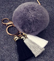 2016 Fancy&Fantasy 100% REAL Rabbit Fur Ball Plush Fur Key Chain Tassel POM POM Keychain With 8 Fancy Pompom Car Bag Keychain